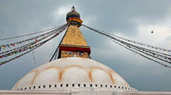 Bodhnath stupa with prayer flags Stock Footage