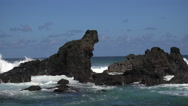 Stock Video Footage of 4K Waves Splash Crash Slow Motion Jutting Rocks Ocean Blue Sky