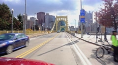 Driving Over Roberto Clemente Bridge in Pittsburgh  	 Stock Footage