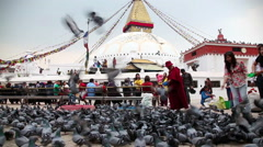 Bodnath stupa in Kathmandu - stock footage