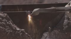 Stock Video Footage of Close up shot of welding torch cutting steel with sparks