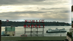 Pike Place Market, Public Market Sign, Ferry Boat, Seattle Stock Footage