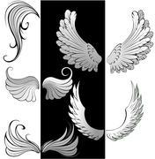 stylized wings - stock illustration