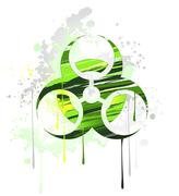 Symbol of biological danger drawn with paint Stock Illustration