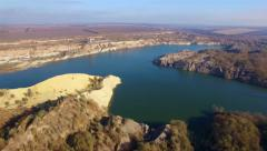 Aerial view of giant sand quarry Stock Footage