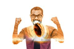 Double exposure of angry asian business man in red shirtwith fire spin Stock Illustration