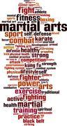 Martial arts word cloud Stock Illustration