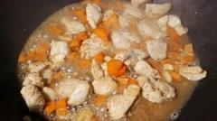 Stir fried chicken Thai Style - stock footage