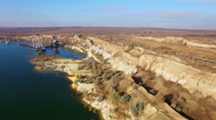 Aerial view of giant mining excavator in a sand quarry Stock Footage