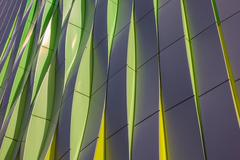 Green, yellow and silver curves of the university hospital in Groningen - stock photo