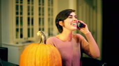 Woman laughing on phone talk telephone Stock Footage