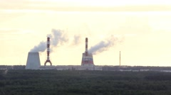 Smoking pipes of thermal power plant Stock Footage