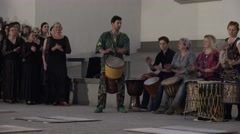 Drummers play music with drums and flamenco dancers prepared for dance. 4K Arkistovideo
