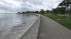Bayshore Walkway Next To Waters Of Tampa Bay Florida Stock Footage