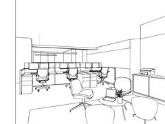 Outline sketch of a interior Stock Illustration