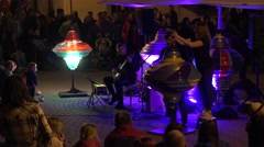 Artistic light and music performance with huge lighting whirligig. 4K Stock Footage