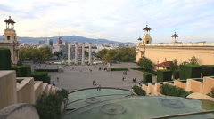 View of the city of Barcelona with the prospect of Queen Maria Cristina and the  Stock Footage