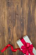 White gift box for holiday event, christmas sale - stock photo