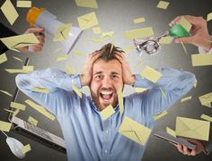 Stressed by advertising - stock photo
