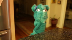 Original puppet moving taking speak Stock Footage