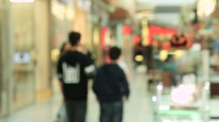 Stock Video Footage of Blurred people in motion, people walking in shopping center
