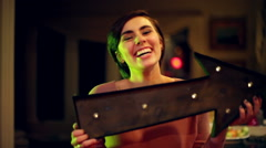 Pixie cut beautiful woman laughing sign laugh Stock Footage