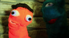 puppets interacting talking to camera talk - stock footage