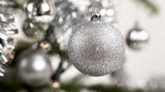 Silver decorated christmas tree with snow effect Stock Footage