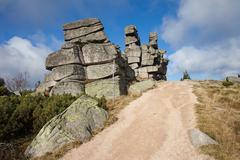 Three Piglets Rocks in Karkonosze Mountains Stock Photos