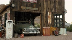 Eldorado Canyon mine tours. Old car. old garage with spare parts. Stock Footage