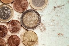 Stock Photo of Euro coins currency on canvas background