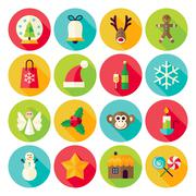 Stock Illustration of Winter Christmas New Year Circle Icons Set with long Shadow