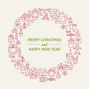 Christmas New Year Holiday Line Art Icons Set Circle Stock Illustration