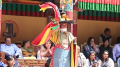 Tibetan lamas dancing in Buddhist festival at Hemis Gompa, Ladakh, India Stock Footage