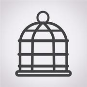 bird cage icon - stock illustration