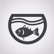 fish in aquarium icon - stock illustration