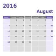 Calendar August 2016 week starts from Sunday - stock illustration