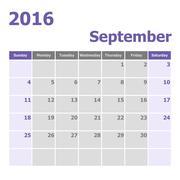 Calendar September 2016 week starts from Sunday Stock Illustration