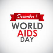 Red Ribon - Symbol of 21 December World AIDS Day - stock illustration