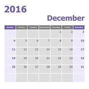 Calendar December 2016 week starts from Sunday Stock Illustration