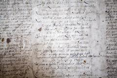 German handwriting on grungy old document - stock photo
