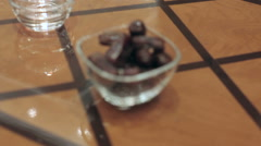 dates lie on a plate - stock footage
