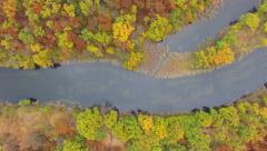 Aerial view of river in autumn forest - stock footage