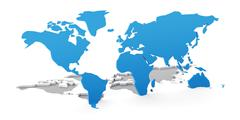 Detail 3d world map flipping up from white background - stock illustration