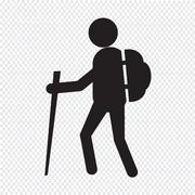 hiking icon - stock illustration