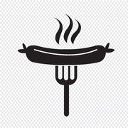 Sausage grilled with fork icon - stock illustration