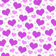 Purple and White Hearts Tile Pattern Repeat Background Stock Illustration