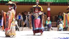Stock Video Footage of Tibetan lamas dancing in Buddhist festival at Hemis Gompa, Ladakh, India