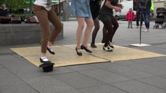 Synchronous young girls tap dance in outdoor street event. 4K Stock Footage