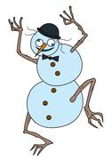 Crazy Snowman - stock illustration